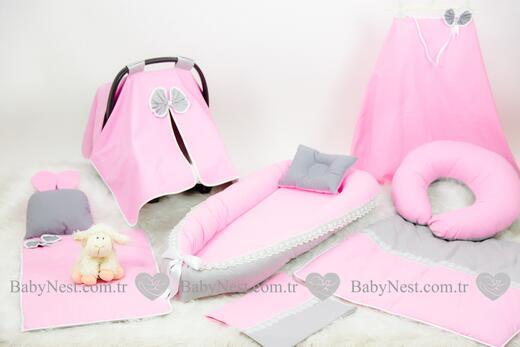 BabyNest Seti - BabyNest FULL Seti Pembe ve Gri Güpürlü