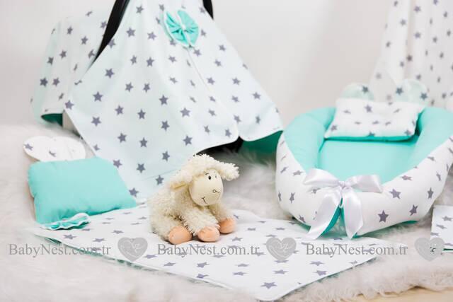 BabyNest FULL Seti Mint ve Gri Büyük Yıldız