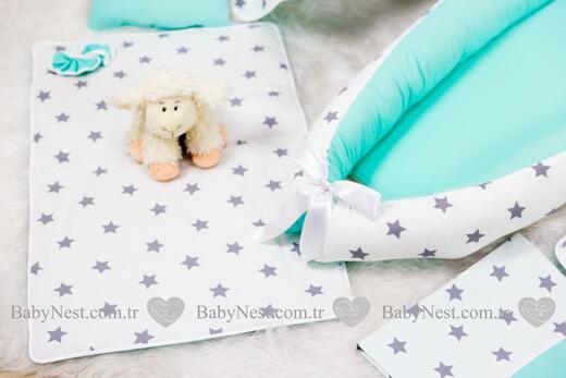 BabyNest FULL Seti Mint ve Gri Büyük Yıldız - Thumbnail