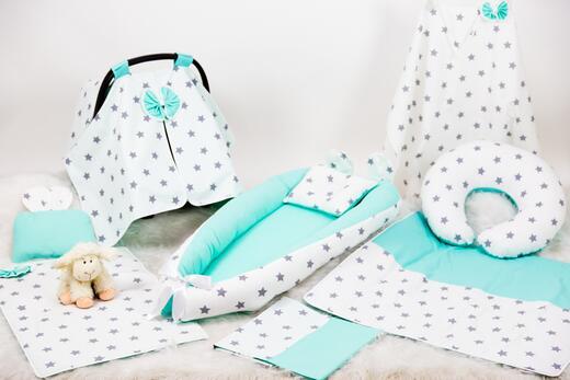 BabyNest Seti - BabyNest FULL Seti Mint ve Gri Büyük Yıldız