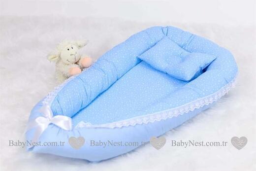 BabyNest Güpürlü Mavi Minik Yıldız ve Düz Mavim - Thumbnail
