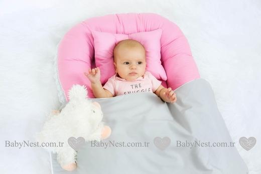 BabyNest Güpürlü Pembe ve Gri - Thumbnail