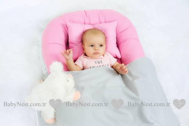 BabyNest Güpürlü Pembe ve Gri