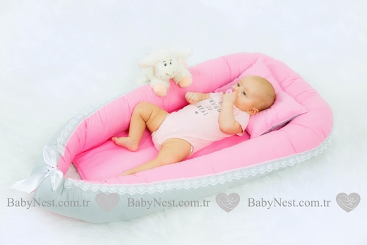 BabyNest - BabyNest Güpürlü Pembe ve Gri