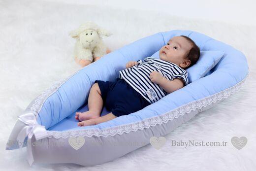 BabyNest - BabyNest Güpürlü Mavi ve Gri