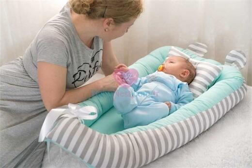 BabyNest - BabyNest - Mint Yeşili ve Gri KULAKLI