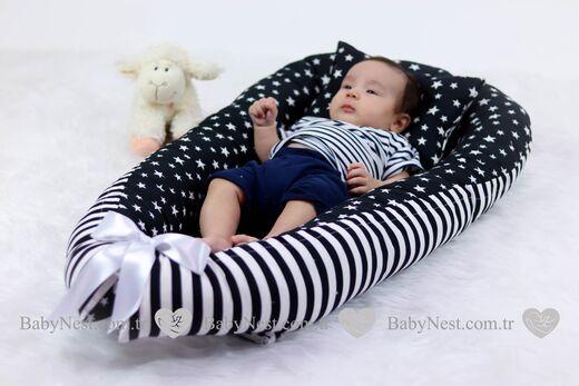 BabyNest - BabyNest Siyah Zikzak ve Yıldızlı