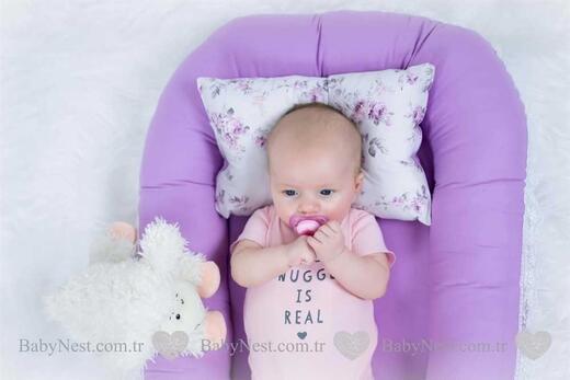 BabyNest - Çiçekli Lilam