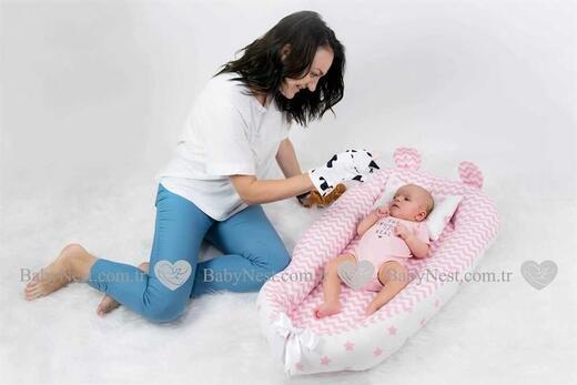 BabyNestKulaklı Pembe Zikzak ve Yildiz - Thumbnail