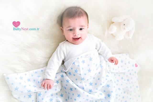 Muslin Battaniye Mavi Yıldızım